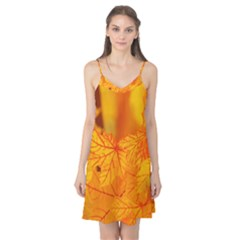 Bright Yellow Autumn Leaves Camis Nightgown
