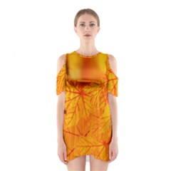 Bright Yellow Autumn Leaves Shoulder Cutout One Piece