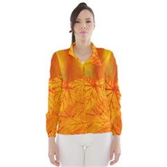 Bright Yellow Autumn Leaves Wind Breaker (women)