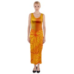 Bright Yellow Autumn Leaves Fitted Maxi Dress