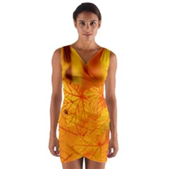 Bright Yellow Autumn Leaves Wrap Front Bodycon Dress