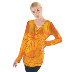 Bright Yellow Autumn Leaves Women s Tie Up Tee