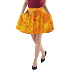 Bright Yellow Autumn Leaves A Line Pocket Skirt