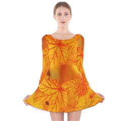 Bright Yellow Autumn Leaves Long Sleeve Velvet Skater Dress