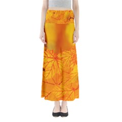 Bright Yellow Autumn Leaves Maxi Skirts