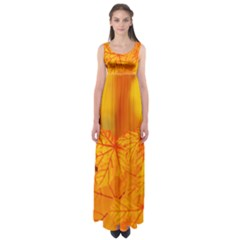 Bright Yellow Autumn Leaves Empire Waist Maxi Dress
