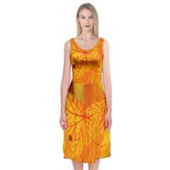 Bright Yellow Autumn Leaves Midi Sleeveless Dress