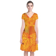 Bright Yellow Autumn Leaves Short Sleeve Front Wrap Dress