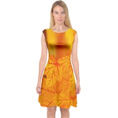 Bright Yellow Autumn Leaves Capsleeve Midi Dress