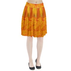 Bright Yellow Autumn Leaves Pleated Skirt