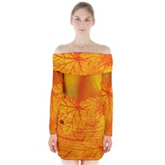 Bright Yellow Autumn Leaves Long Sleeve Off Shoulder Dress