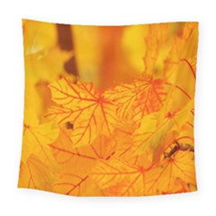 Bright Yellow Autumn Leaves Square Tapestry (large)