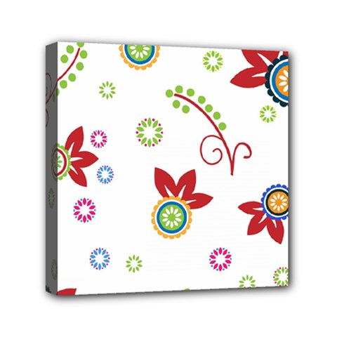 Colorful Floral Wallpaper Background Pattern Mini Canvas 6  x 6