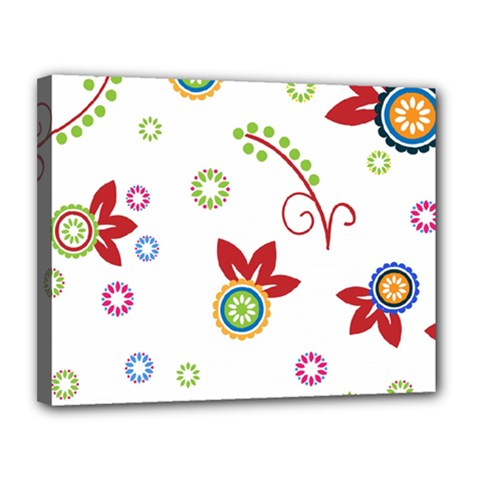 Colorful Floral Wallpaper Background Pattern Canvas 14  X 11
