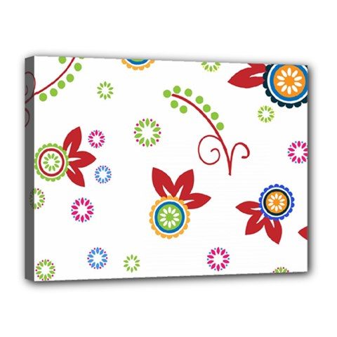 Colorful Floral Wallpaper Background Pattern Canvas 16  X 12