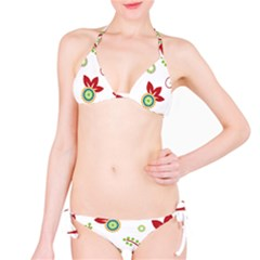 Colorful Floral Wallpaper Background Pattern Bikini Set