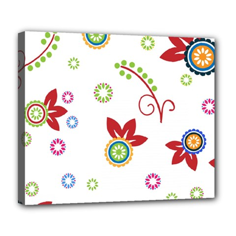 Colorful Floral Wallpaper Background Pattern Deluxe Canvas 24  X 20