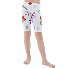 Colorful Floral Wallpaper Background Pattern Kids  Mid Length Swim Shorts