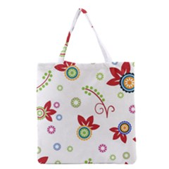 Colorful Floral Wallpaper Background Pattern Grocery Tote Bag