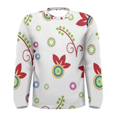 Colorful Floral Wallpaper Background Pattern Men s Long Sleeve Tee