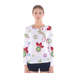 Colorful Floral Wallpaper Background Pattern Women s Long Sleeve Tee