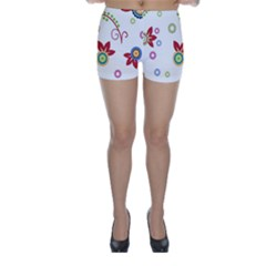 Colorful Floral Wallpaper Background Pattern Skinny Shorts