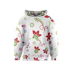 Colorful Floral Wallpaper Background Pattern Kids  Pullover Hoodie