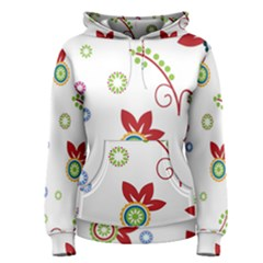 Colorful Floral Wallpaper Background Pattern Women s Pullover Hoodie