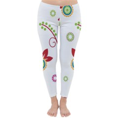 Colorful Floral Wallpaper Background Pattern Classic Winter Leggings