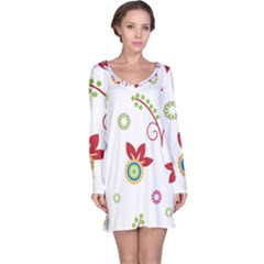 Colorful Floral Wallpaper Background Pattern Long Sleeve Nightdress