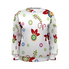 Colorful Floral Wallpaper Background Pattern Women s Sweatshirt