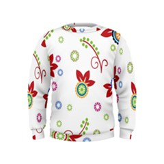 Colorful Floral Wallpaper Background Pattern Kids  Sweatshirt