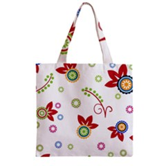 Colorful Floral Wallpaper Background Pattern Zipper Grocery Tote Bag