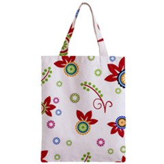 Colorful Floral Wallpaper Background Pattern Zipper Classic Tote Bag