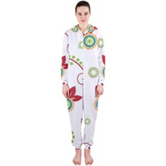 Colorful Floral Wallpaper Background Pattern Hooded Jumpsuit (ladies)