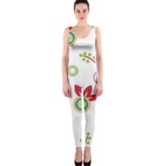 Colorful Floral Wallpaper Background Pattern Onepiece Catsuit