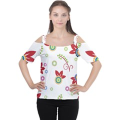 Colorful Floral Wallpaper Background Pattern Women s Cutout Shoulder Tee