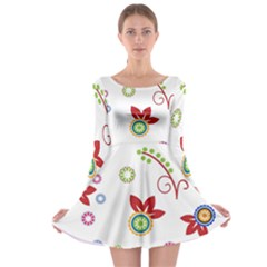 Colorful Floral Wallpaper Background Pattern Long Sleeve Skater Dress