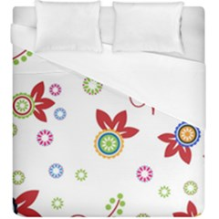 Colorful Floral Wallpaper Background Pattern Duvet Cover (king Size)