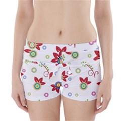 Colorful Floral Wallpaper Background Pattern Boyleg Bikini Wrap Bottoms
