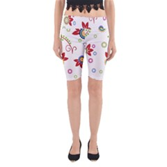 Colorful Floral Wallpaper Background Pattern Yoga Cropped Leggings