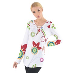 Colorful Floral Wallpaper Background Pattern Women s Tie Up Tee
