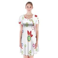 Colorful Floral Wallpaper Background Pattern Short Sleeve V Neck Flare Dress
