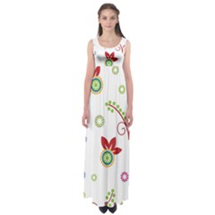 Colorful Floral Wallpaper Background Pattern Empire Waist Maxi Dress