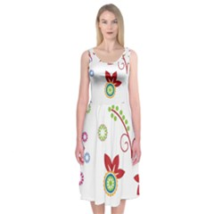 Colorful Floral Wallpaper Background Pattern Midi Sleeveless Dress