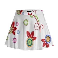 Colorful Floral Wallpaper Background Pattern Mini Flare Skirt
