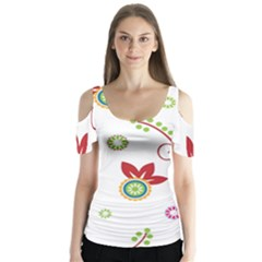 Colorful Floral Wallpaper Background Pattern Butterfly Sleeve Cutout Tee