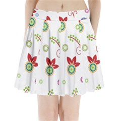 Colorful Floral Wallpaper Background Pattern Pleated Mini Skirt