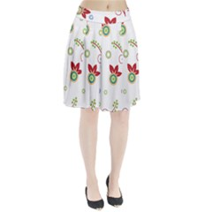 Colorful Floral Wallpaper Background Pattern Pleated Skirt