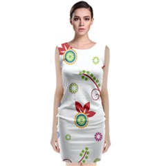 Colorful Floral Wallpaper Background Pattern Sleeveless Velvet Midi Dress